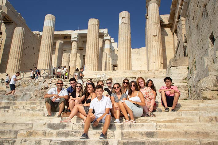 Class photo in Athens ruins