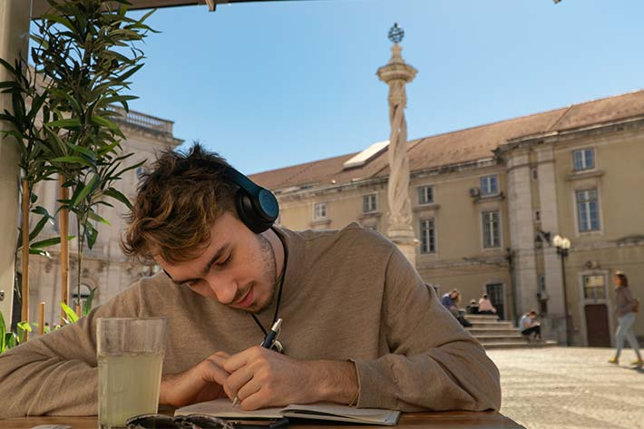 Student journaling in Spain