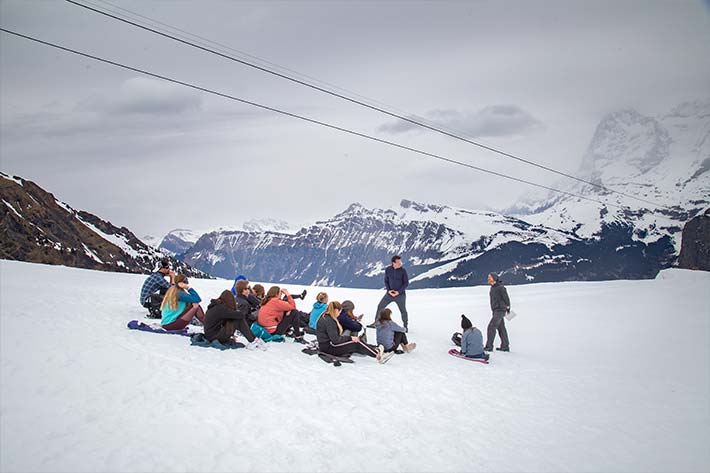 Students in the Swiss Alps