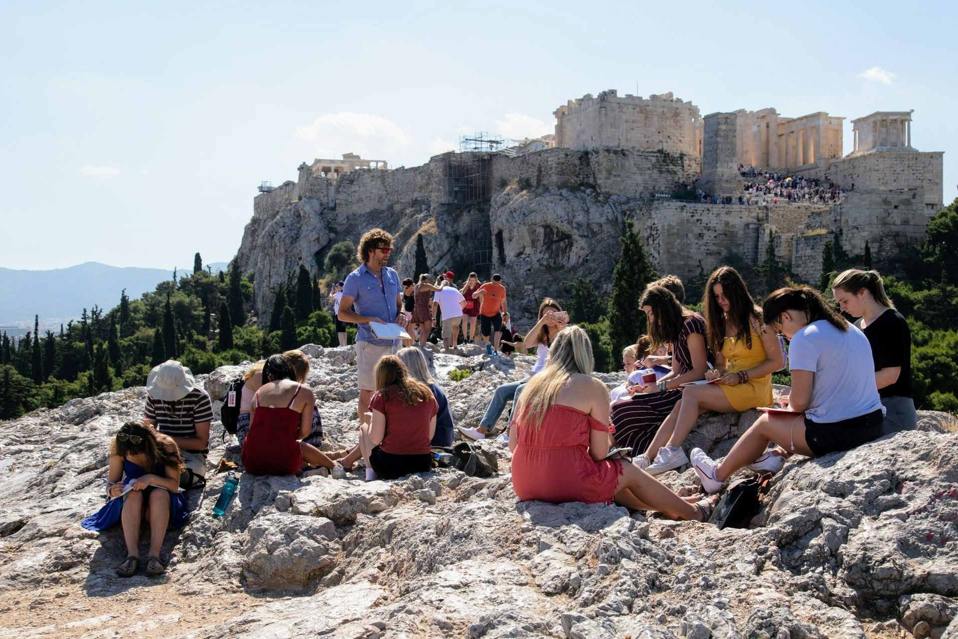 Teaching in front of Ancient Ruins